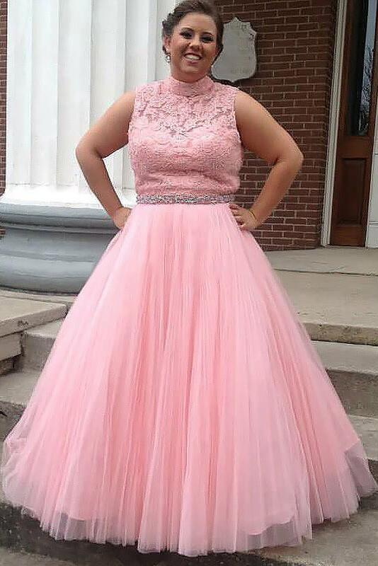 Plus Size Tulle Pink Prom Dress, Elegant Appliques Prom Dresses ...