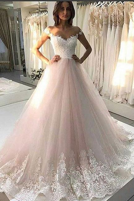 Off-the-Shoulder Lace Appliqués Tulle Ball Gown Wedding Dress
